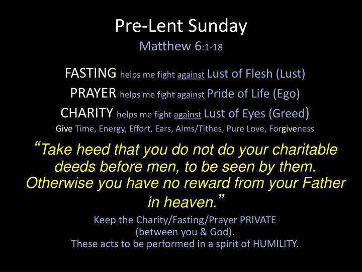 Pre-Lent Sunday