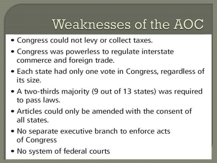Weaknesses of the AOC