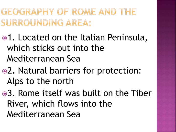 Geography of Rome and the surrounding area: