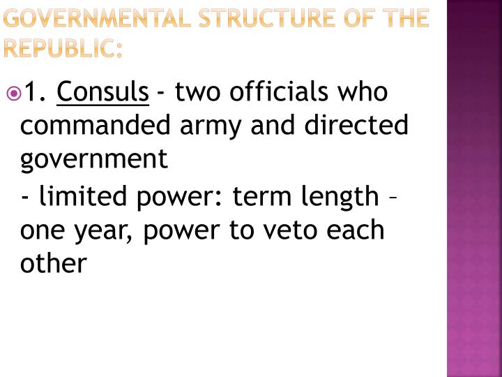 Governmental Structure of the Republic: