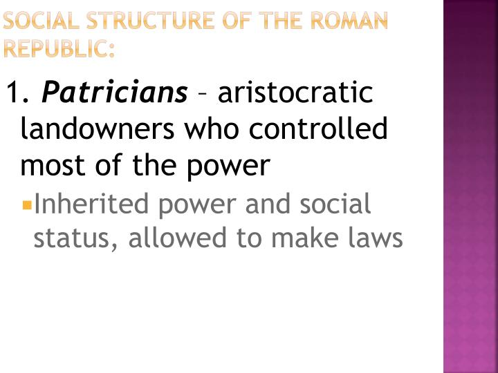 Social Structure of the Roman Republic: