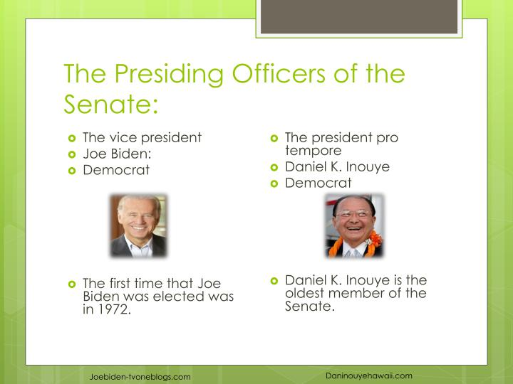 The Presiding Officers of the Senate: