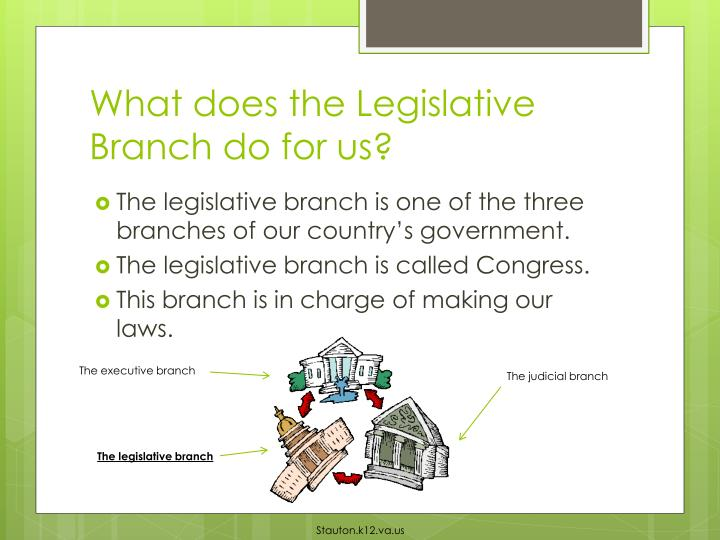 What does the legislative branch do for us