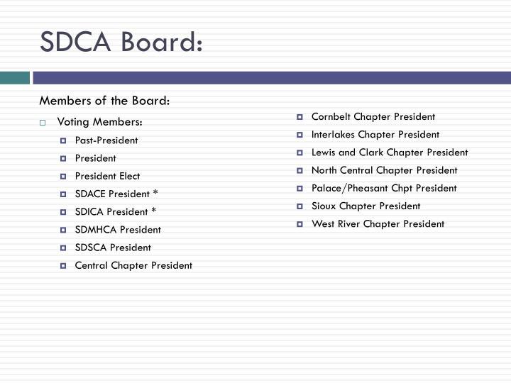 SDCA Board: