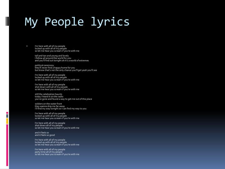 My People lyrics