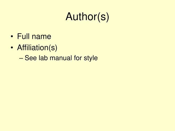 Author(s