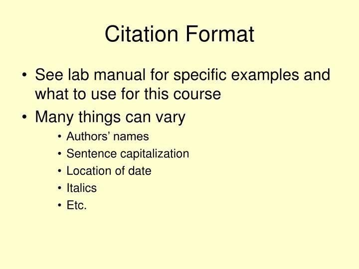 Citation Format