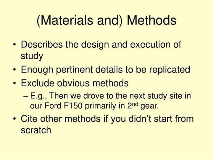 (Materials and) Methods