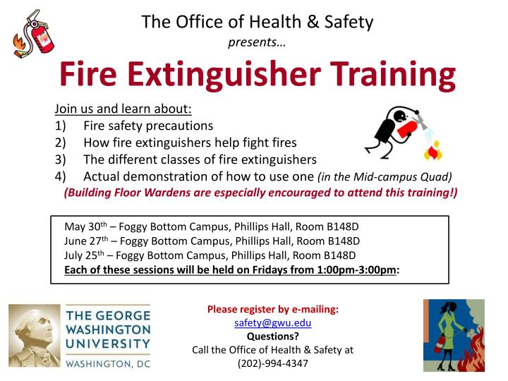 The office of health safety p resents fire extinguisher training