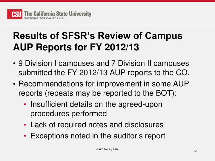 Results of SFSR's Review of Campus AUP Reports for FY 2012/13