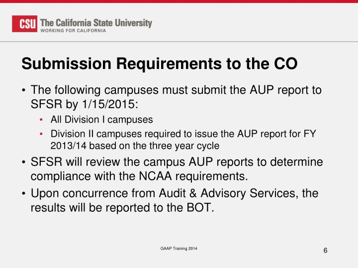 Submission Requirements to the CO