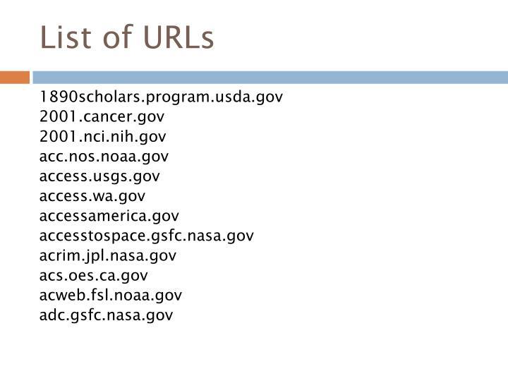 List of URLs