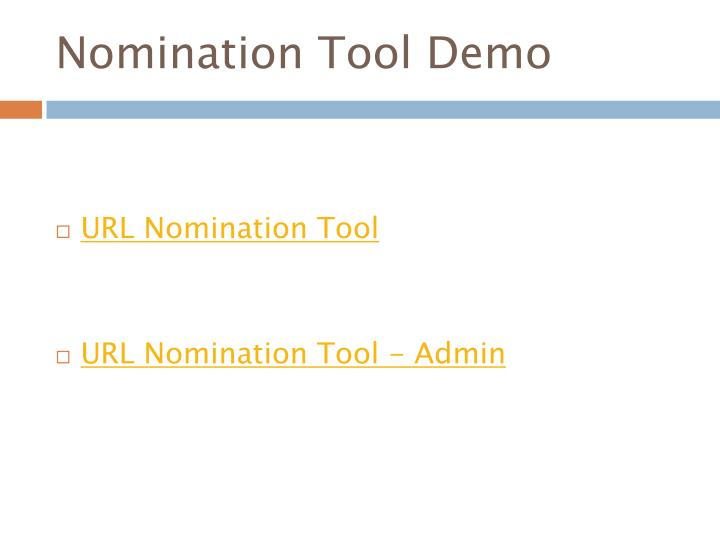 Nomination Tool Demo