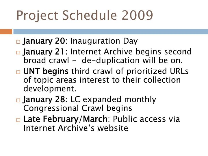 Project Schedule 2009