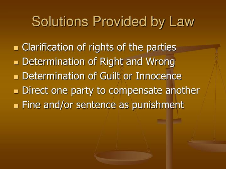 Solutions Provided by Law