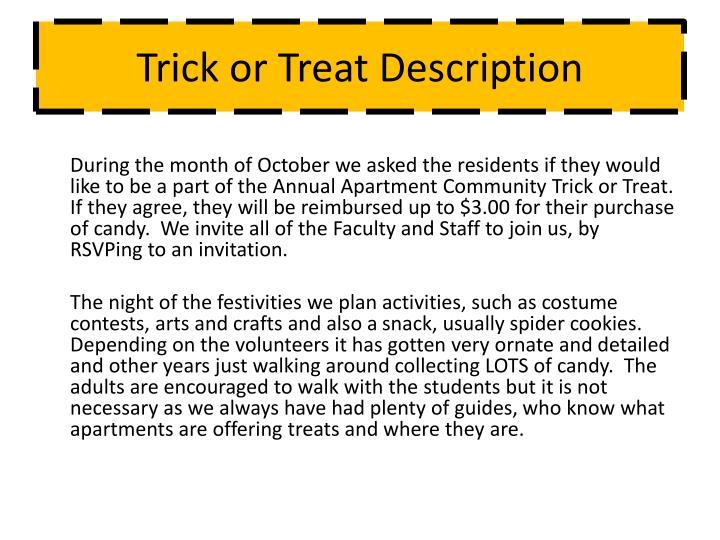 Trick or Treat Description