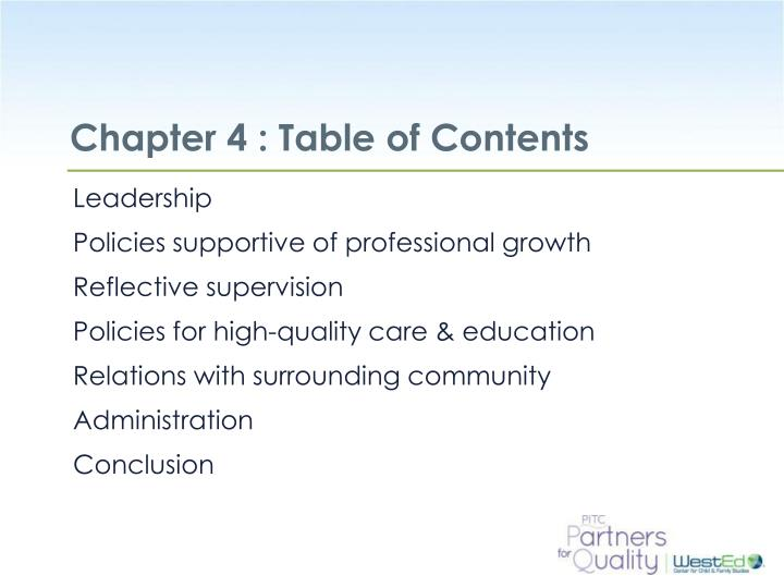 Chapter 4 : Table of Contents