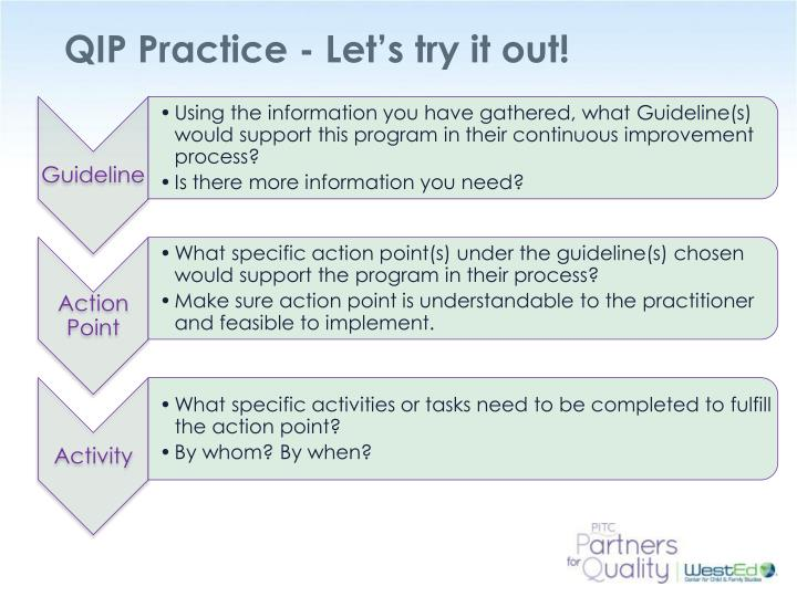 QIP Practice - Let's try it out!