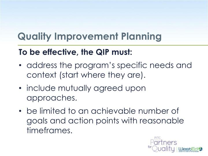 Quality Improvement Planning