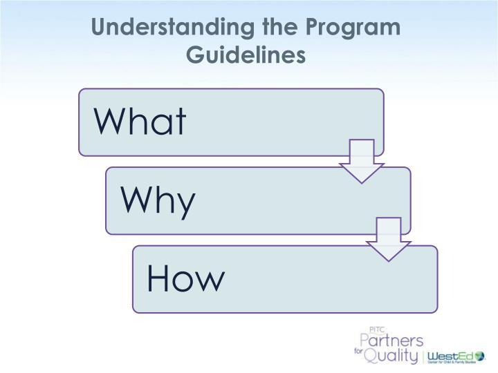 Understanding the Program Guidelines