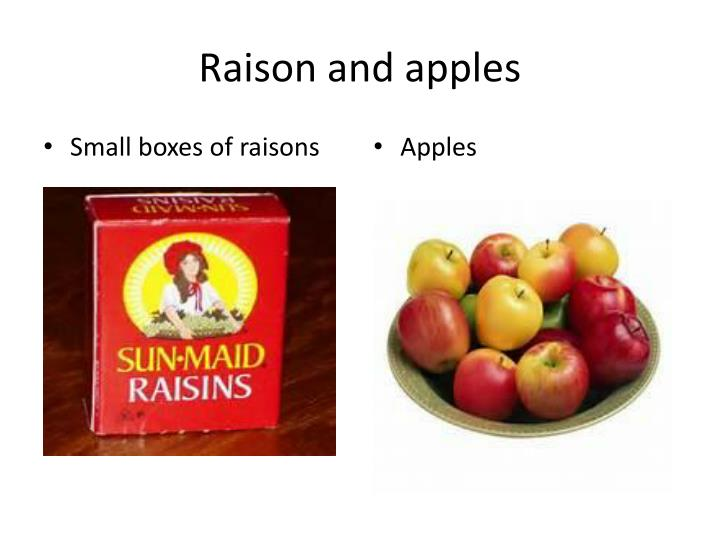 Raison and apples