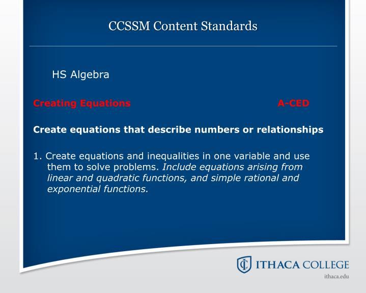 CCSSM Content Standards