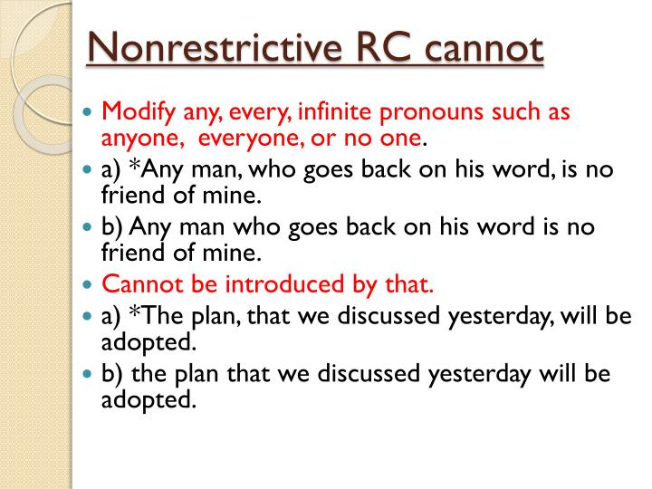 Nonrestrictive RC cannot