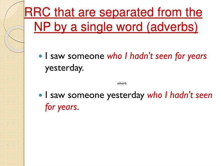 RRC that are separated from the NP by a
