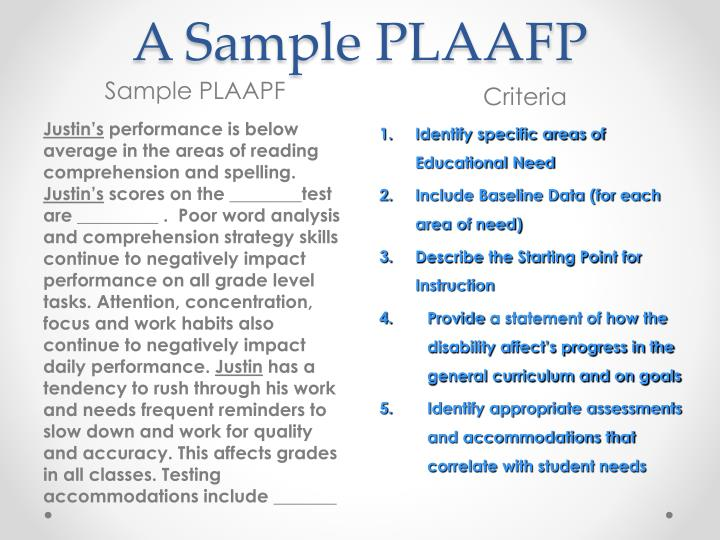 A Sample PLAAFP