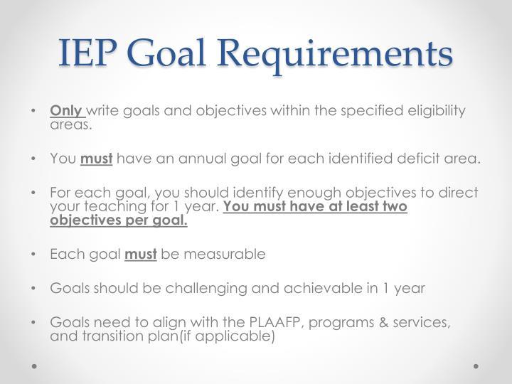 IEP Goal Requirements