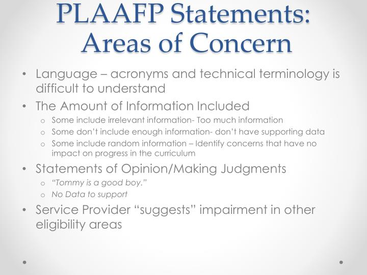 PLAAFP Statements: