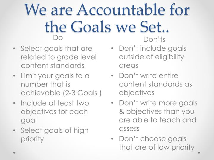 We are Accountable for the Goals we Set..
