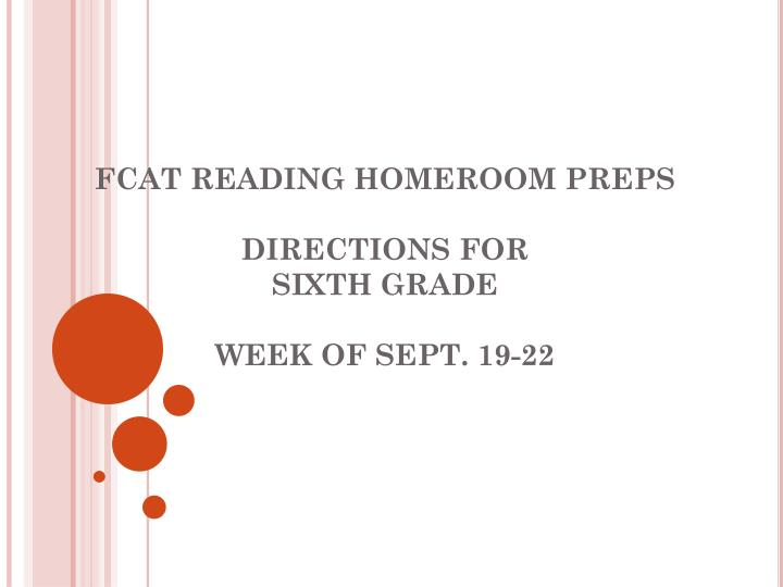 Fcat reading homeroom preps directions for sixth grade week of sept 19 22