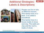 additional strategies labels descriptions