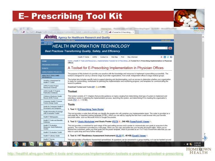 E– Prescribing Tool Kit