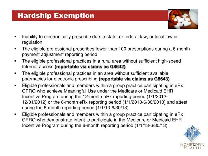 Hardship Exemption