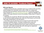 how to access feedback report