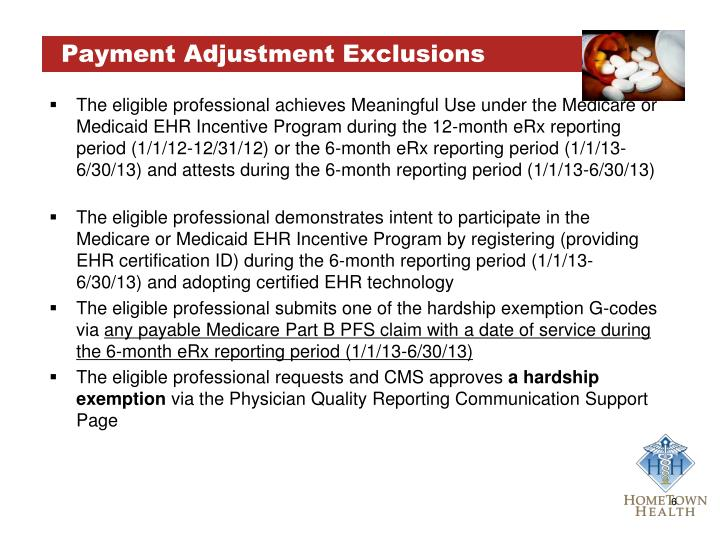 Payment Adjustment Exclusions