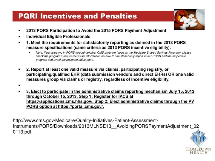 PQRI Incentives and Penalties