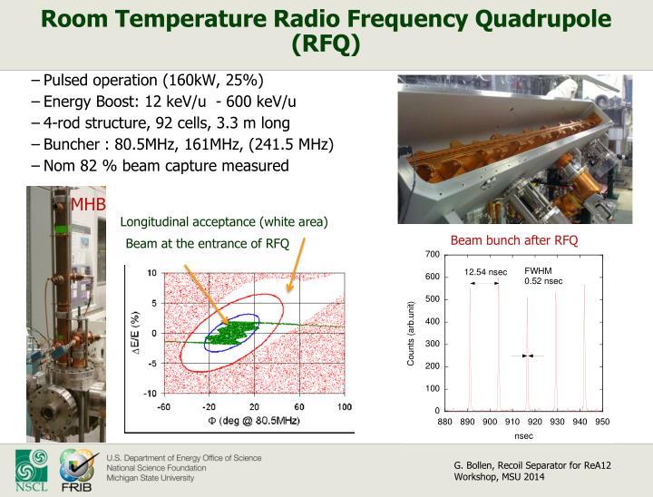 Room Temperature Radio Frequency Quadrupole (