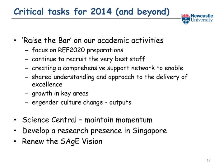 Critical tasks for 2014 (and beyond)