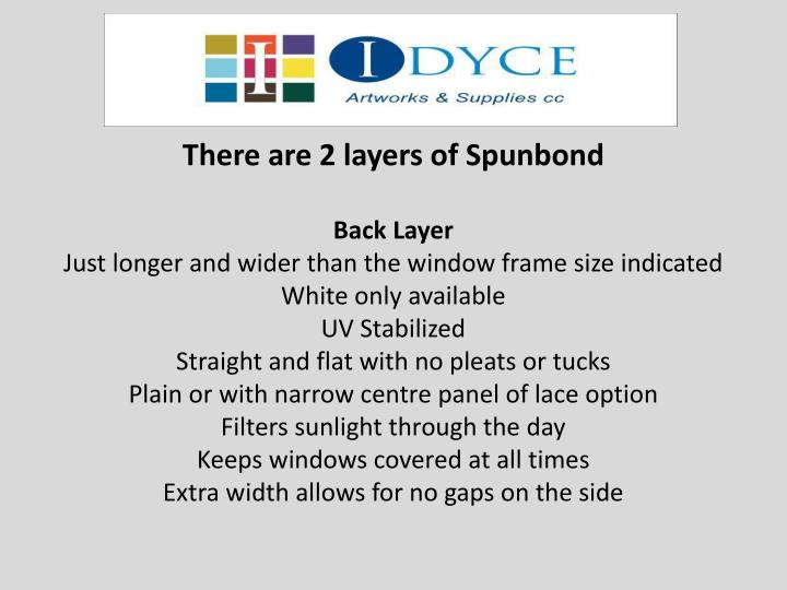 There are 2 layers of Spunbond