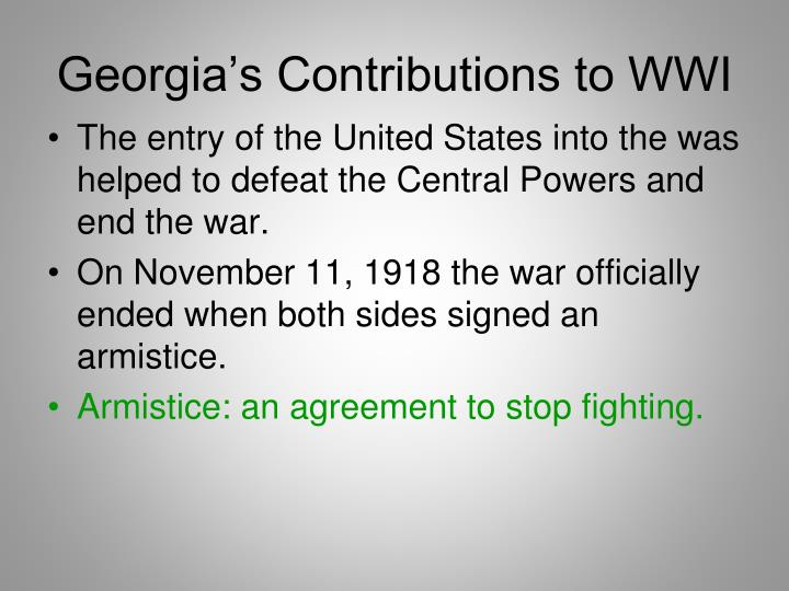 Georgia's Contributions to WWI