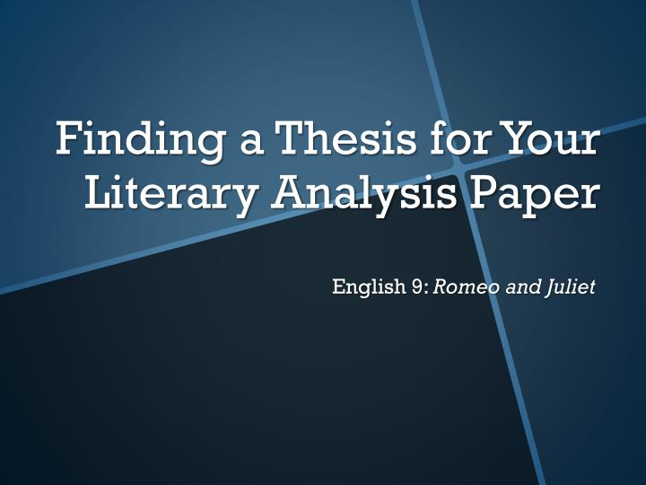 Literary Analysis Thesis Statements