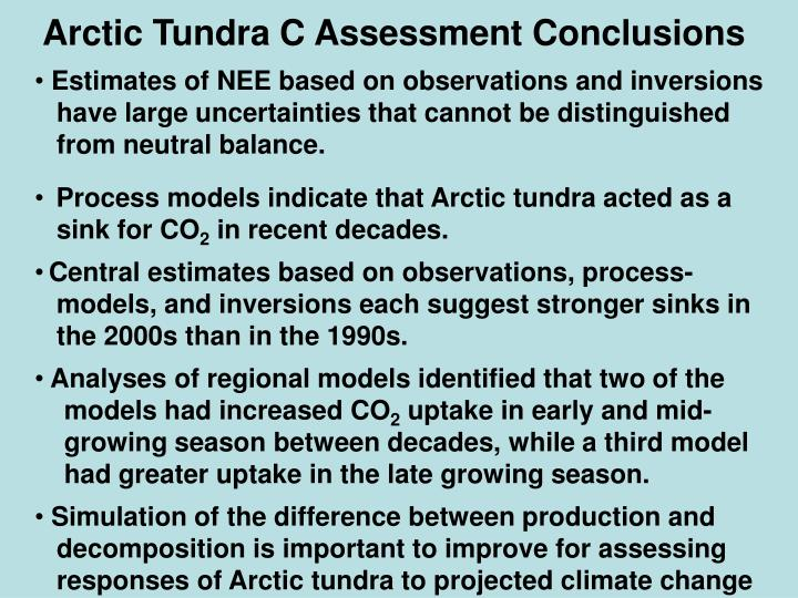 Arctic Tundra C Assessment Conclusions