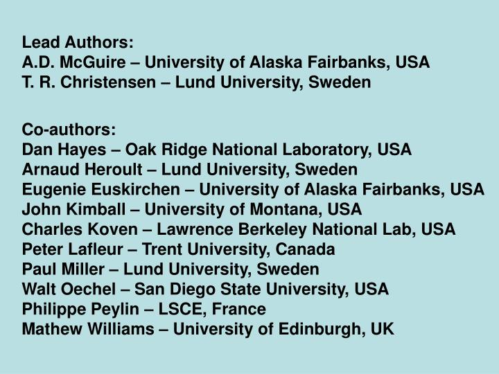 Lead Authors:
