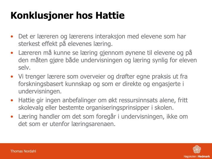 Konklusjoner hos Hattie
