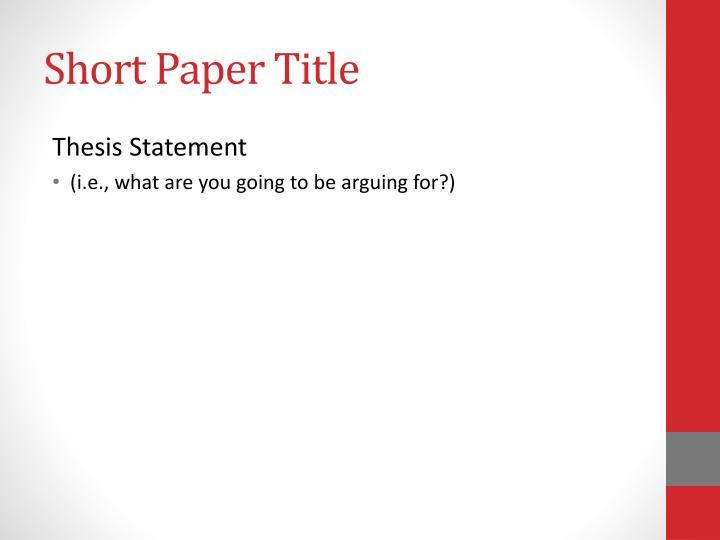 Short Paper Title