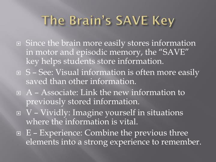 The Brain's SAVE Key