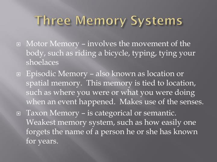 Three Memory Systems